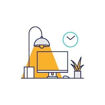 Иллюстрированный значок настройки рабочего стола компьютера