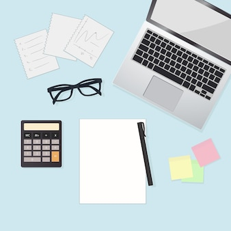 Working desktop with computer, calculator and graph. business flat lay,   illustration