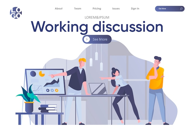 Working discussion landing page with header. team of colleagues discussing project near whiteboard with infographics scene. corporate teamwork situation, debating at work flat illustration.