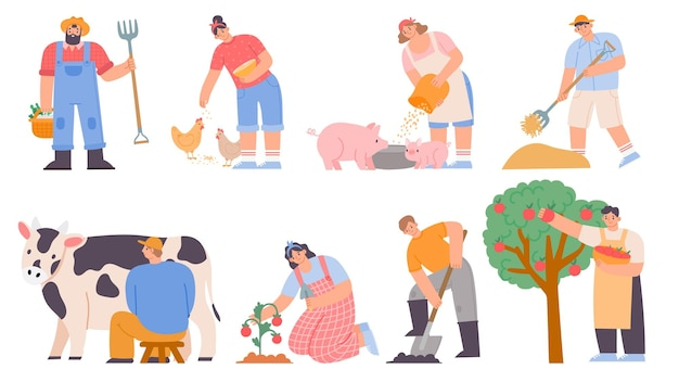 Working farmers. agricultural worker milk cow, feed chickens and pigs, harvesting apples and planting. cartoon farm woman and man vector set. illustration farmer worker, chicken and agriculture