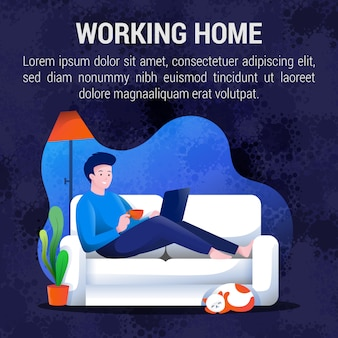 Working from home concept social media post