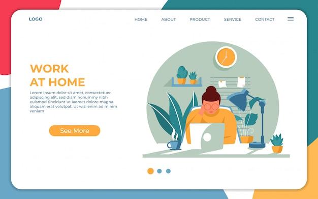 Работая из дома концепции, оставайтесь дома на карантине во время эпидемии коронавируса. современный плоский веб-дизайн шаблона целевой страницы. векторная иллюстрация