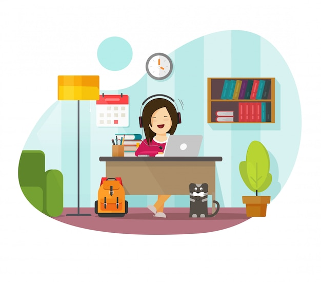Working from home freelancer person sitting on table desk or girl character distance remote learning and studying online on laptop computer workplace in house room   flat illustration