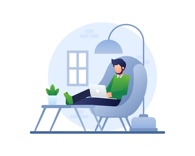 Working from home illustration with a man works using a laptop on a comfy couch