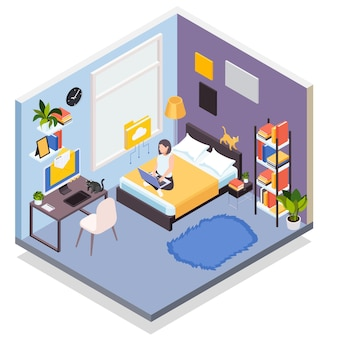 Working from home isometric illustration with young woman using laptop in bedroom