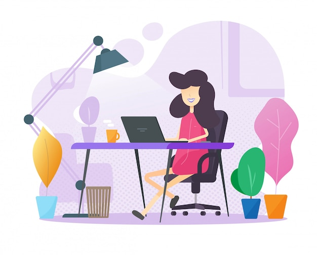 Working from home office person sitting on table workplace or freelancer girl