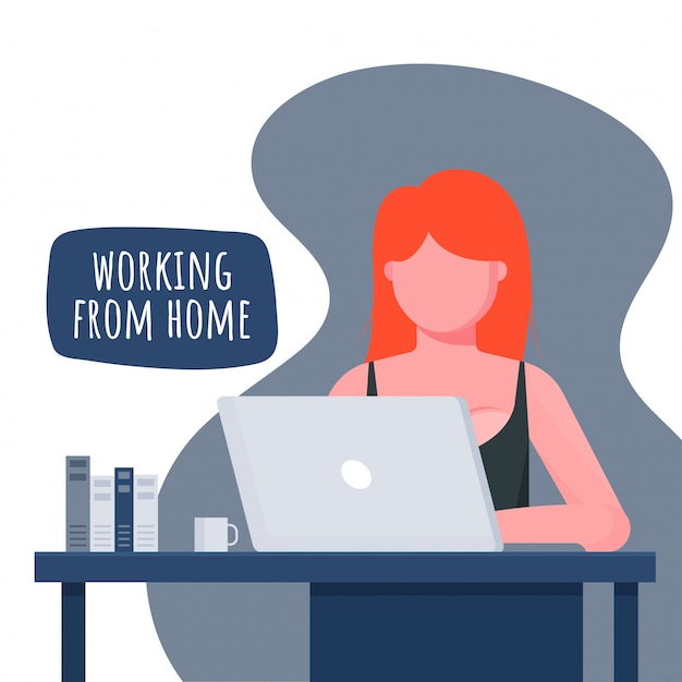 Working from home in quarantine.   illustrations of working at home concept. people at home.