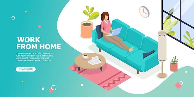 Работаю из дома. оставайтесь дома концепции. женщина работает на ноутбуке дома. социальное дистанцирование.