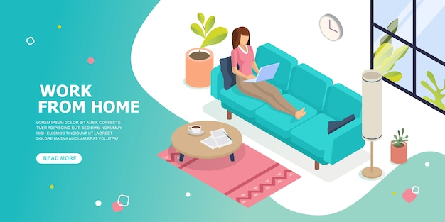 Working from home. stay at home concept. woman working on laptop at home. social distancing.