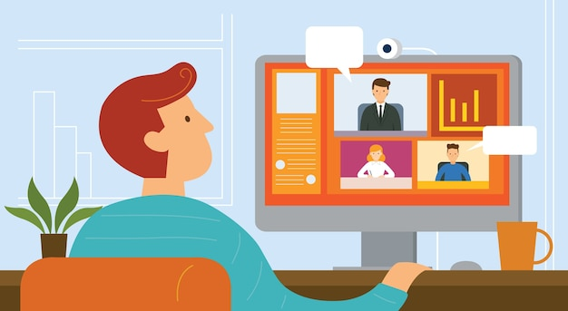 Working from home, video conference, seminar, online meeting, home office