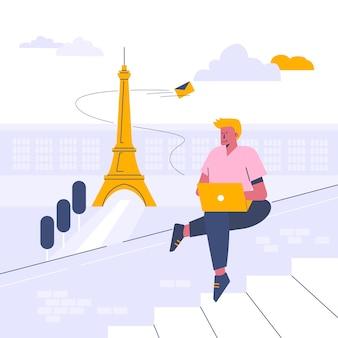 Lavorando da esterno, illustrazione in stile cartone animato