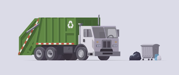 Working garbage truck