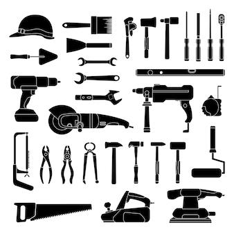 Рабочий силуэт ручных инструментов. набор иконок для строительства и ремонта дома. метизы мастерской, дрель, молоток, пила и гаечный ключ, векторный набор. иллюстрация молоток и столярный комплект для ремонта и работы