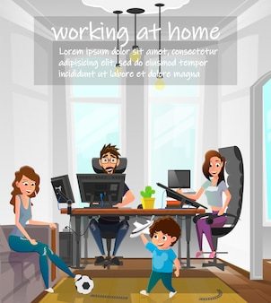 Working at home cartoon family freelance work