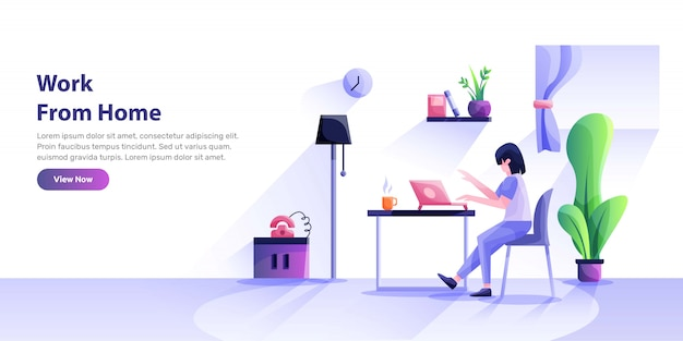 Working at home, coworking space, concept illustration. young people, mn and womn freelancers working on laptops and computers at home.   style illustration