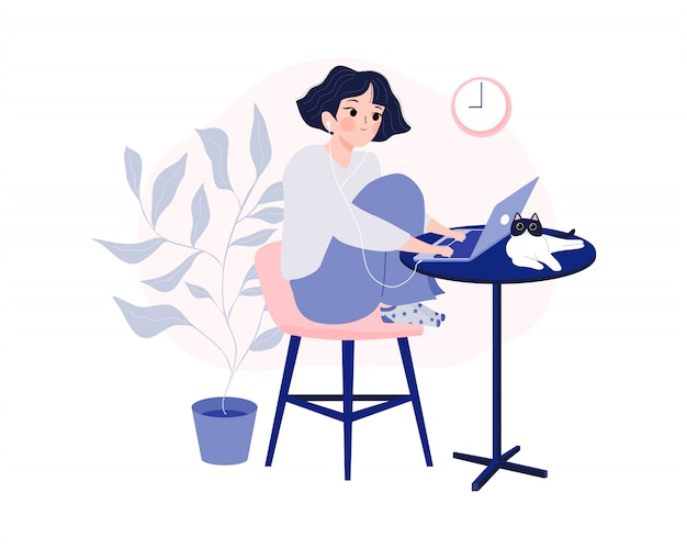 Working at home, coworking space and home office concept.