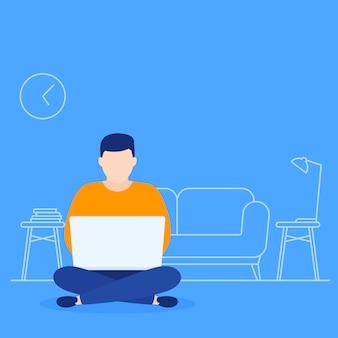 Работа дома, человек с ноутбуком в позе лотоса