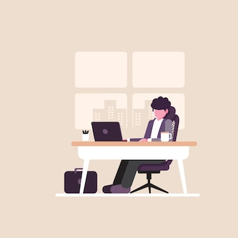 Working at home office, character sitting at desk in room, looking at computer screen, vector illustration