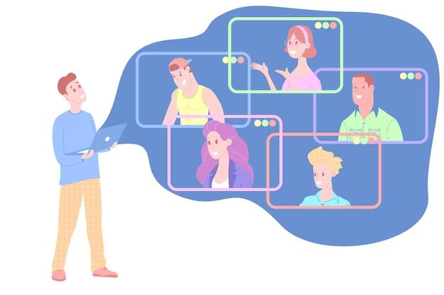 自宅での作業、ウェビナーの視聴、オンライン会議のフラットなベクターイラスト。ビデオ会議、テレワーク、社会的距離、ビジネスディスカッション、勉強。ノートパソコンを持っている人が同僚に話しかける