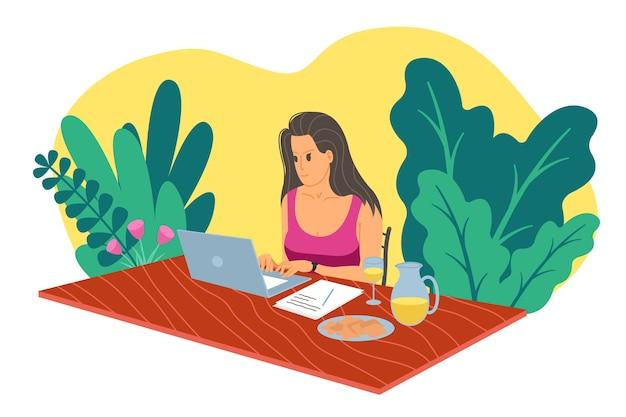 仕事の家、ウェビナー、オンライン会議フラットベクトルイラスト。ビデオ会議、テレワーク、社会的距離、ビジネスディスカッション、勉強。ノートパソコンを持つ女の子は、テーブルで同僚と話します