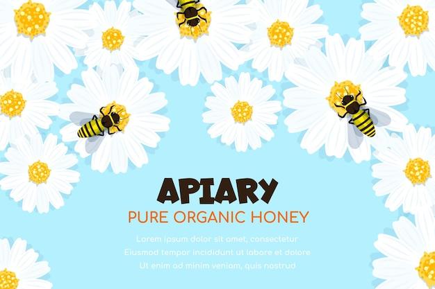 일하는 꿀벌은 꽃 위에 앉아 꿀을 모으고 있습니다. 유기농 꿀 웹 템플릿