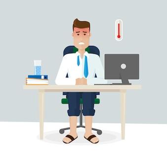 여름에 사무실에서 일하는 것은 답답하고, 덥고, 스트레스가 많고, 신선한 공기가 없고, 양복입니다. 한 남자가 여름에 사무실에 앉아 땀을 흘리고 있습니다. 플랫 스타일의 벡터 그림입니다.