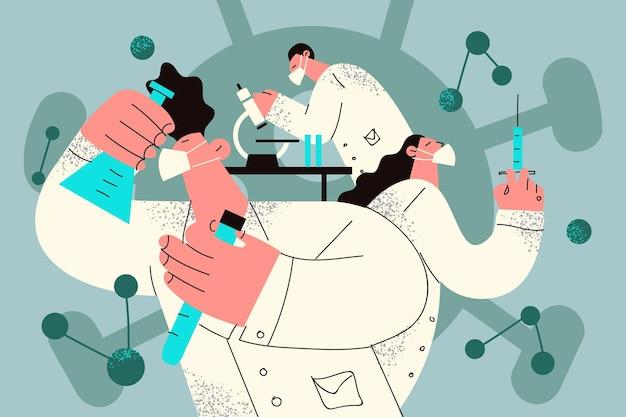 化学実験室で研究コンセプトイラストを作る