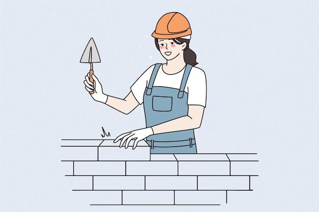 건설, 수리공 개념에서 일하고 있습니다. 건설 현장 벡터 일러스트 레이 션에서 주걱으로 작업 하는 젊은 웃는 여자 벽돌공