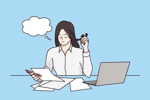 사무실 경력 및 전문 직업 개념에서 근무