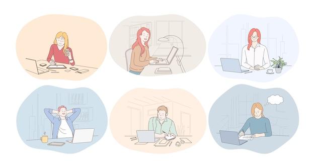사무실, 노트북, 온라인 커뮤니케이션, 프리랜서, 시작 개념에서 근무합니다.