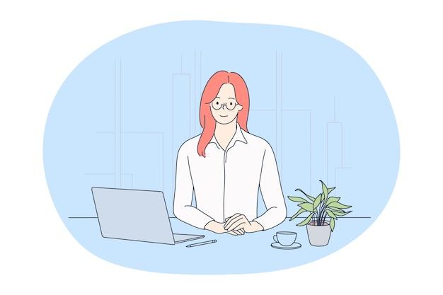オフィスで働く、現代の会社員、オンラインコミュニケーションの概念。