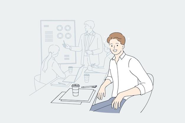 사무실 프리젠 테이션 디자이너 개념에서 작업