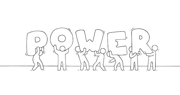 Рабочие человечки с большим словом power.