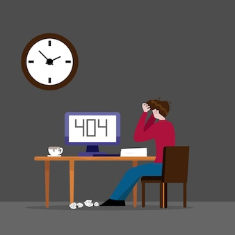 Working man and error 404 on computer in night  cartoon  illustration