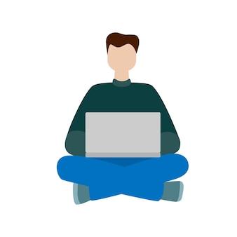 컴퓨터와 함께 앉아 일하는 남자. 소셜 네트워크 개념입니다. 프리랜서 원격 근무. 플랫 만화 스타일 벡터 일러스트 레이 션.