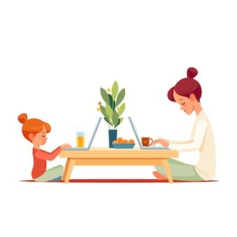 일하는 어머니는 아이와 함께 홈 오피스에서 일합니다.