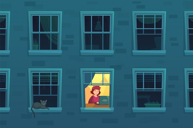 Working at night. busy workaholic works home at nights when neighbors asleep, lonely man in window frame cartoon  illustration