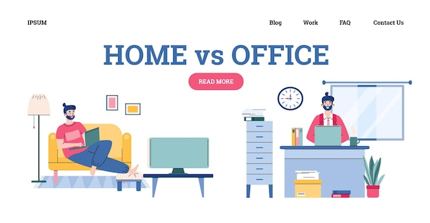 Working in office against work from home banner cartoon vector illustration
