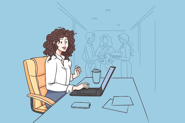 Working in office and businesswoman concept