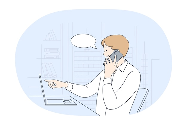 Working in office, modern company worker, online communication concept.