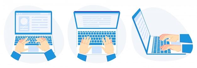 Работаю на ноутбуке. руки на клавиатуре компьютера, презентация работы и компьютеры экран векторная иллюстрация набор