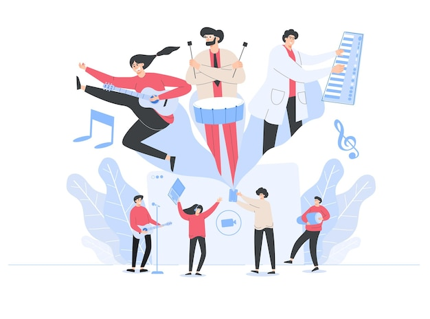 Работа над музыкой музыкантов, иллюстрация в мультяшном стиле