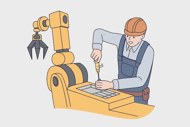生産工場のコンセプトに取り組んでいます。制服とヘルメット立っている若い男性労働者は、植物のベクトル図で生産のための自動機械を修理します。