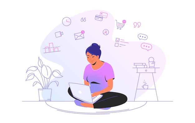 집에서 노트북으로 온라인 작업. 집에 로터스 포즈로 노트북을 들고 원격으로 일하는 귀여운 여성의 플랫 라인 벡터 삽화. 흰색 배경에 고립 된 인터넷 마케팅 개념