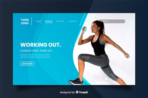 Working out gym promotion landing page