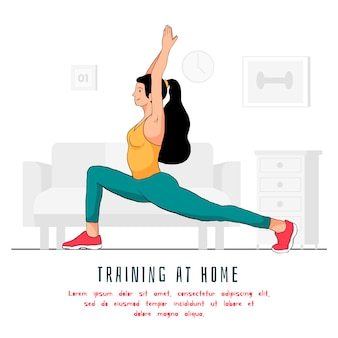 Working out at home concept