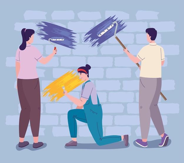 일하는 화가 또는 팀 리모델링