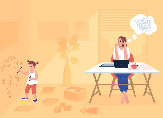 働く親ストレスフラットカラーベクトルイラスト。子供が壁に描くのを見て欲求不満の母親。いたずらな子供と一緒に家にいるお母さん。背景に家のインテリアと家族の2d漫画のキャラクター