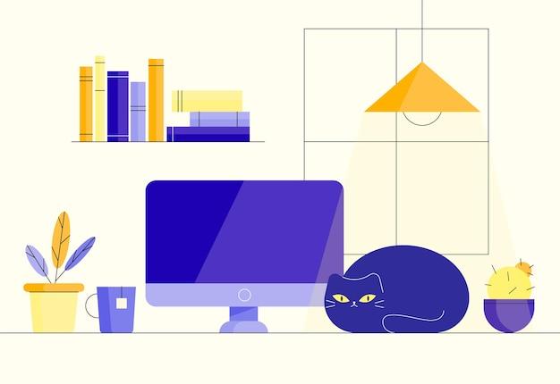 職場猫との居心地の良いワークスペース自宅での作業自宅のコンピューターでの作業