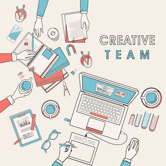 Working place of creative team in flat line design